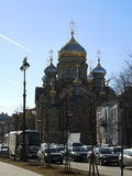 Orthodox church in Saint Petersburg, Russia. View of colorful orthodox church on March 26, 2014 in Saint Petersburg, Russia Royalty Free Stock Photography