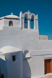 Orthodox church in Santorini with bells, Grece Stock Images
