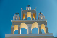An orthodox church in Santorini Stock Image