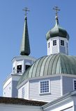 Orthodox Church of Sitka. The spires of orthodox church in Sitka, Alaska Royalty Free Stock Photos