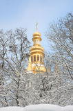 Orthodox Church and the snow covered trees. View of the Orthodox Church through the snow-covered trees Royalty Free Stock Images
