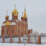 Orthodox church in snow Stock Photo