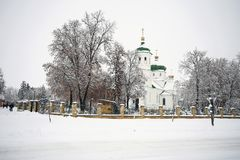 Orthodox church on a snowy background stock image
