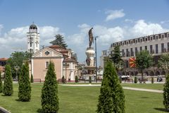 Orthodox Church of Church St. Demetrius and Philip II of Macedon Monument in Skopje, Stock Images