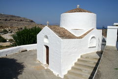 Orthodox Church of St Peter in Lindos town in Rhodes island Stock Image