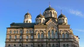 Orthodox church sunlit sunrise on the Karpovka river embankment in St. Petersburg. stock footage