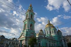 Orthodox church in sunny day, Moscow stock photo