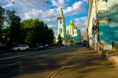 Orthodox church in sunny day, Moscow stock image