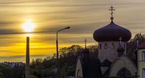 Orthodox church at sunset Stock Image