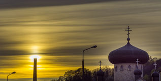 Orthodox church at sunset Stock Images