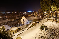 Orthodox church Sveta Petka in winter. St. Petka church at night during the winter Stock Photography
