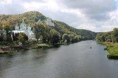 Orthodox church in Svyatogorsk. Donetsk Region, Ukraine, autumn landscape Royalty Free Stock Image