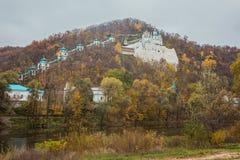 Orthodox church in Svyatogorsk, Donetsk Region, Ukraine. Autumn landscape Royalty Free Stock Photography