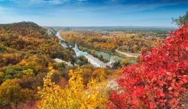 Orthodox church in Svyatogorsk. Donetsk Region, Ukraine. Autumn colorful landscape Stock Image