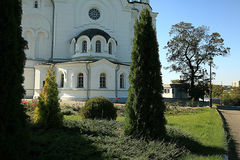 Orthodox church temple. Beautiful sunny Orthodox church temple Stock Images