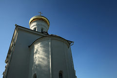 Orthodox church temple. Beautiful white Orthodox church temple Stock Images