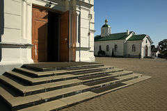 Orthodox church temple. Beautiful white Orthodox church temple Stock Photography