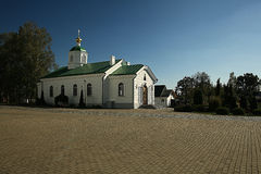 Orthodox church temple. Beautiful white Orthodox church temple Royalty Free Stock Photo