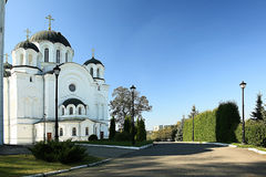 Orthodox church temple. Beautiful white Orthodox church temple Royalty Free Stock Images