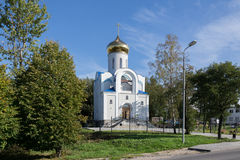 Orthodox church. Temple Tikhvin icon of the Mother of God in Pioneer Stock Photo
