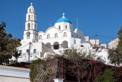 Orthodox Church Thira Santorini Greece. The blue dome and bell tower of a typical orthodox church in Santorini, Cyclades Islands, Greek Islands, Europe Royalty Free Stock Photos