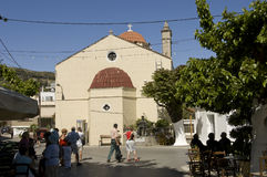 Orthodox church with tourists Royalty Free Stock Images