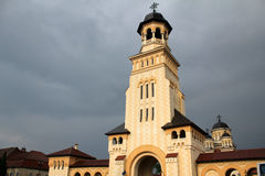 Orthodox church tower. With storm clouds in the background - in Alba Iulia, Romania Royalty Free Stock Photography