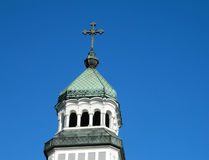 Orthodox church tower. In Medias, Sibiu, Romania Royalty Free Stock Photo