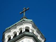 Orthodox church tower. In Medias, Sibiu, Romania Stock Photos
