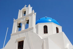 Orthodox church in the town of Pyrgos Santorini Royalty Free Stock Photography