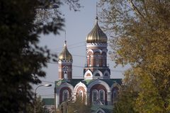 Orthodox Church with two Golden domes in the city of Iskitim. Orthodox Church with two Golden domes and bells in the city of Iskitim in Russia stock photos