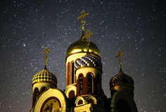 Orthodox Church under the starry sky Royalty Free Stock Image