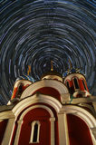 Orthodox Church under the starry sky Stock Photography