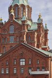 Orthodox church of Uspensky and antique harbor factory. Helsinki. Finland Royalty Free Stock Image