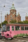 Orthodox church of Uspensky and tramway. Helsinki, Finland. Orthodox church of Uspensky and tramway. Helsinki city center. Finland Stock Image