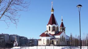 Orthodox church view in spring day stock video