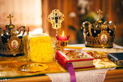 Orthodox church wedding ceremony. Bride Stock Photos