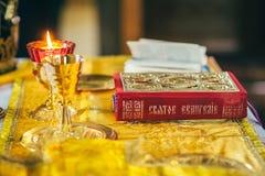 Orthodox church wedding ceremony. Gold Royalty Free Stock Photography