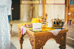 Orthodox church wedding ceremony. Gold Royalty Free Stock Photos