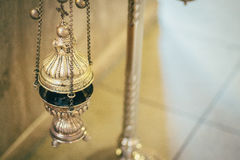 Orthodox church wedding ceremony. Gold Royalty Free Stock Image