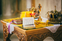 Orthodox church wedding ceremony. Gold Stock Images