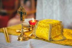 Orthodox church wedding ceremony. Gold Stock Image