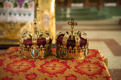 Orthodox church wedding details crown Stock Photography
