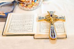 Orthodox Church wedding paraphernalia - a cross and a bible on t royalty free stock photography