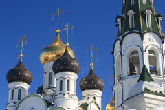 Orthodox church and a winter sky Royalty Free Stock Image