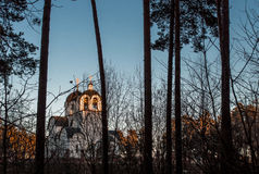 Orthodox church in the woods Royalty Free Stock Photo