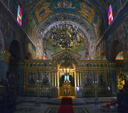 Orthodox Church Zakintos. Interior decoration of the Orthodox church Zakintos Grece with a central dome and altar Royalty Free Stock Images