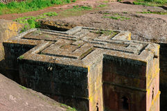 Orthodox churches carve in solid rock in Lalibela Stock Photos