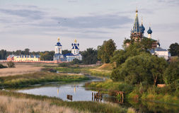 Orthodox churches and a symbol of mediaeval Russia Stock Image