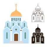 Orthodox churches vector icons. Religion buildings isolated on white background. Illustration of orthodox church for christian, architecture building religion royalty free illustration